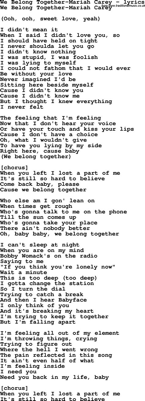 we go together testo carey songs lyrics related keywords