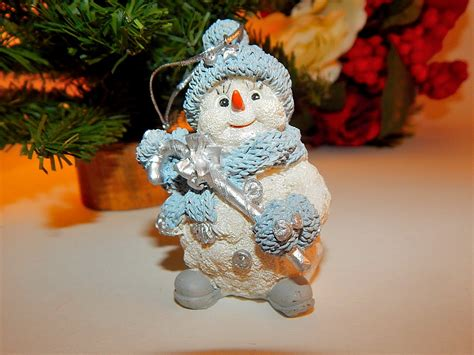 Snowman Decoration White snowman tree ornament blue white and silver