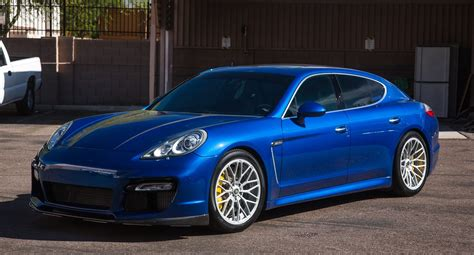 porsche panamera turbo custom sapphire blue panamera turbo poses on custom 20 quot forged