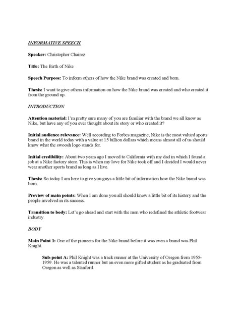 A Speech Outline Exle by Informative Speech Exles 2 Free Templates In Pdf Word Excel