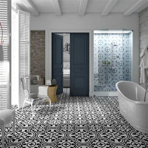 hydraulic black    floor tile connecting circles