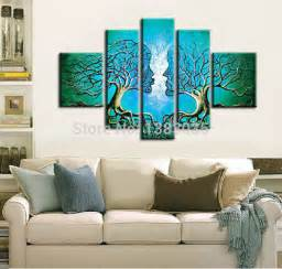 painting for home decor hand painted man and woman kiss abstract tree painting