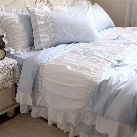 blue ruffle bedding lace bedding set