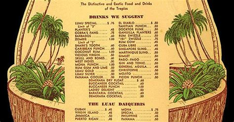 1950s Cocktail Menu From Luau Palm Springs Hotel Palm Springs Ca Tiki Tiki Tiki Pinterest Tiki Bar Menu Template