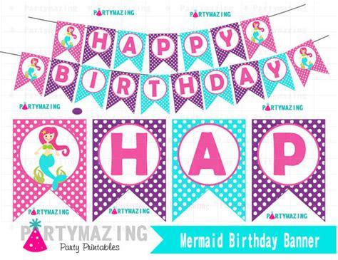 ariel happy birthday banner printable mermaid banner diy printable banner under the sea banner