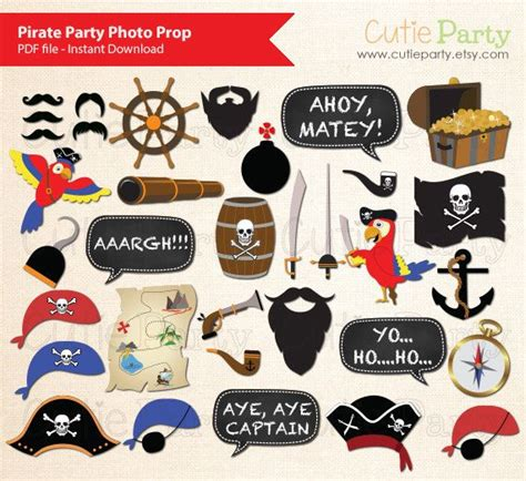 pirate photobooth props printable instant download pirate party photo booth prop children pirate photo booth