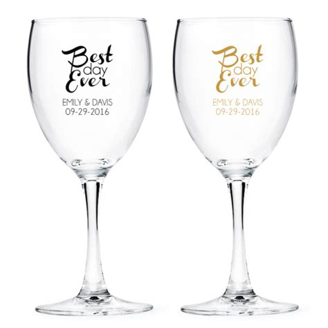 Wine Glass Wedding Giveaways - best day ever personalized wine glass favors gold theme wedding favors wedding