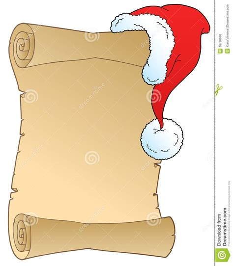 scroll with christmas hat stock vector image of christmas