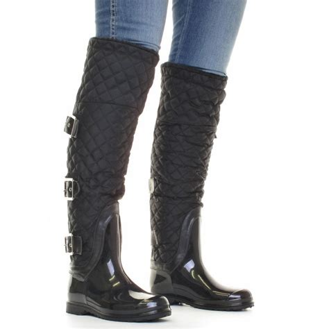Womens Quilted Wellies by Womens Quilted Thigh Knee Black Wellies Wellington Boots Size 3 8 Ebay