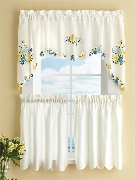 daisy curtains 3 piece embroidered daisy curtain valance set kitchen