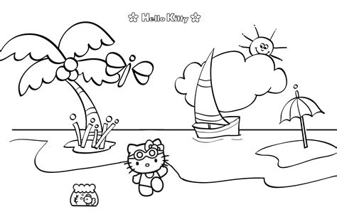 hello kitty beach coloring page free tokidoki colour in coloring pages