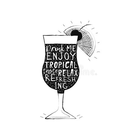 tropical cocktail silhouette tropical cocktail vector illustration stock vector