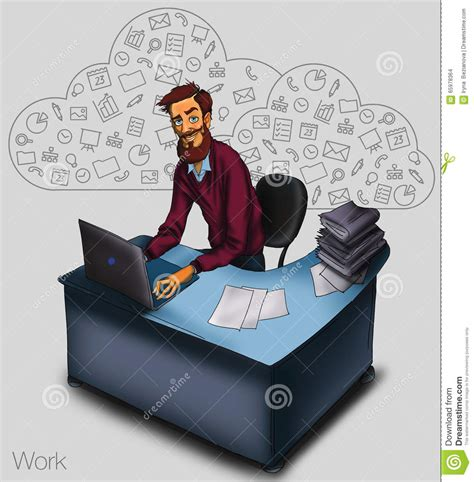 Gadgets For Working Remotely Or On by Illustration Of An Office Employee Showing Tablet Screen