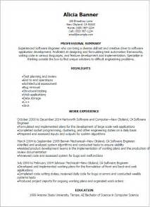 Software Testing Resume Sles For Freshers by Professional Software Engineer Resume Templates To