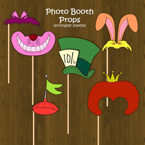 printable alice in wonderland photo booth props alice in wonderland printable photo props by