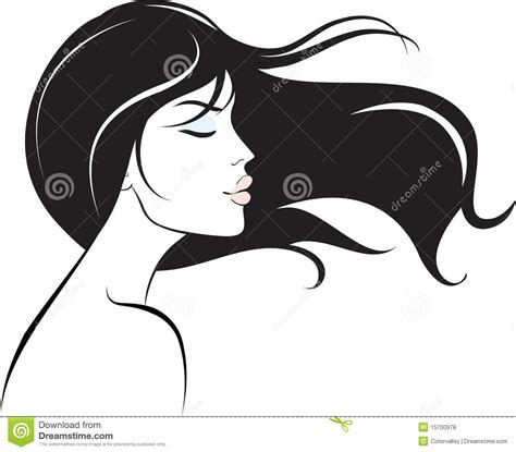 long hair stock photos royalty free images vectors woman face with long black hair stock vector image 15700978