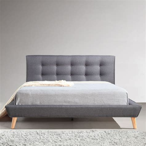 button bed frame linen fabric button tufted bed frame in grey buy