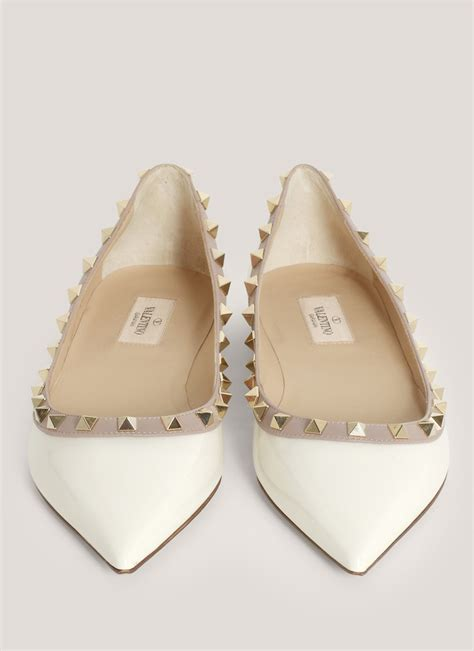 white pointed flat shoes valentino studded pointed toe flats in white lyst
