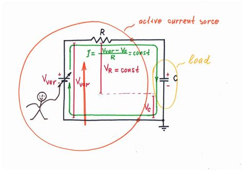 capacitor constant current what is the idea transistor current source with shifting capacitor