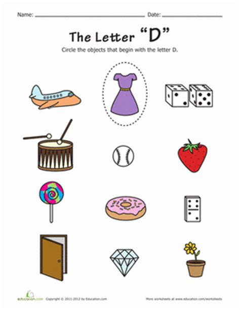 color that starts with letter d things that start with d worksheet education