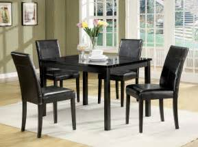 portland black faux marble top 5pc pack dining table set