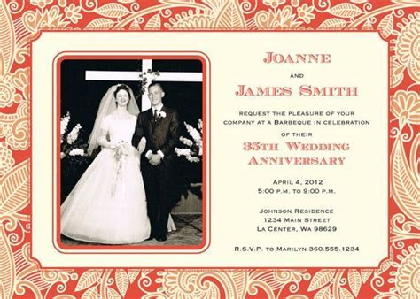 35th Wedding Anniversary Invitation Coral by