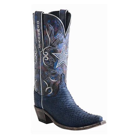 dallas cowboys lucchese womens sueded python swarovski