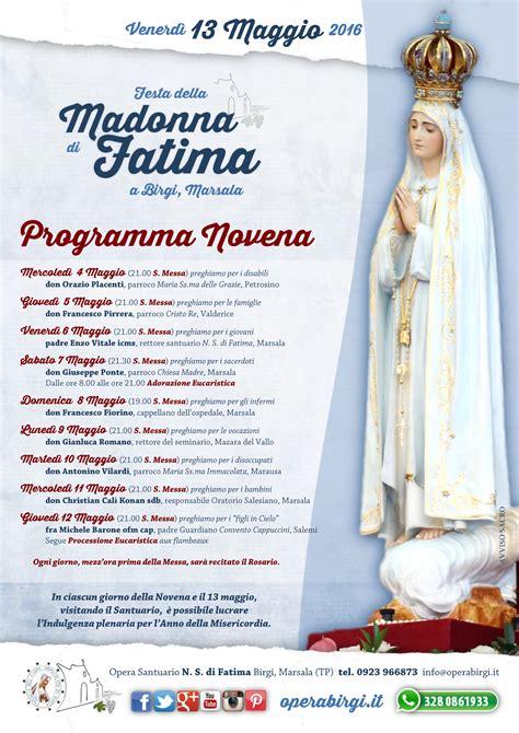novena madonna di fatima programma della novena alla madonna di fatima opera