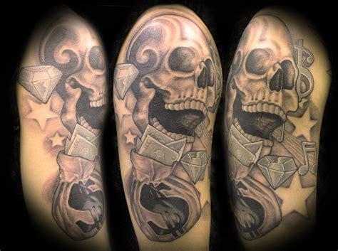 gangster skull tattoos grey ink skull gangsta on right half sleeve