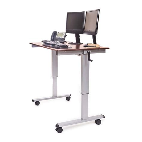 adjustable height stand up desk luxor adjustable height stand up desk walnut standup