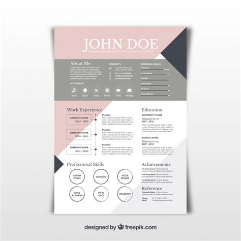 Pretty Abstract Resume Template Vector Free Download Free Pretty Resume Templates