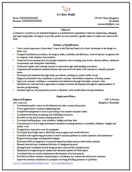 field service engineer resume