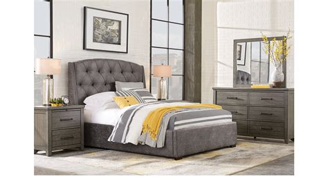 7 Pc Bedroom Set by Plains Gray 7 Pc King Upholstered Bedroom Contemporary