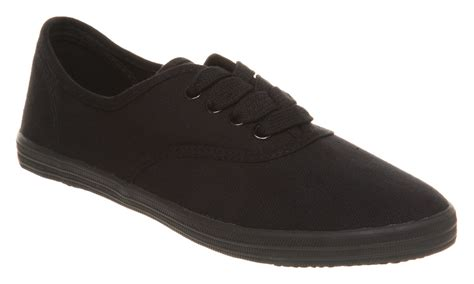 womens office androquai lace up black canvas flats