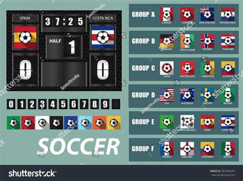 world cup scoreboard vector scoreboard national team flags template stock