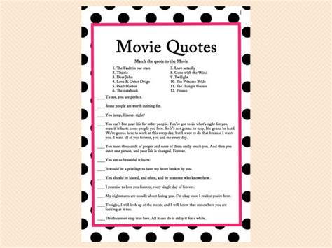 movie love quote match game printable floral bridal shower 20 engagement party entertainments you will love