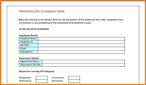 employee exit form 11 exit letter for employee financial statement form