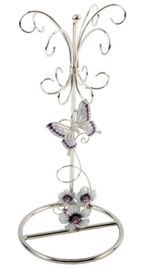 Stylish Lilac Butterfly & Flowers Jewellery Display Stand