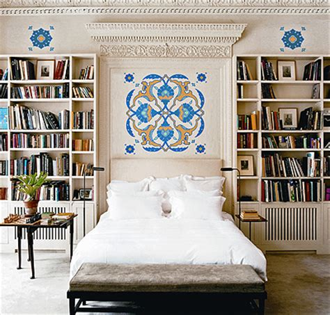 built in bookcase eclectic bedroom