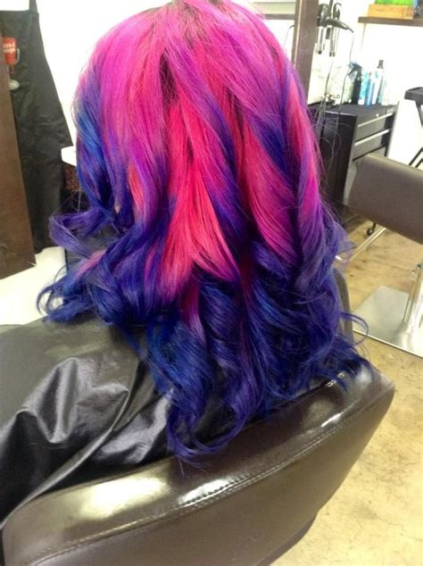 pink and navy blue ombre dip dyed hair dip dye