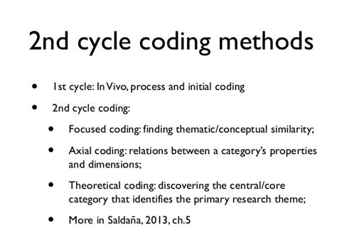 qualitative research codes categories themes from first cycle to second cycle qualitative coding
