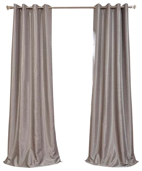 silver faux silk curtains silver grommet blackout vintage textured faux silk dupioni