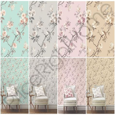 Pink And Teal Curtains Decorating Decor Chic Floral Chinoiserie Bird Wallpaper In Grey Teal Pink Duck Egg New Ebay