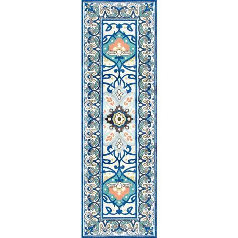 nuloom vintage floral kiyoko blue 8 ft x nuloom vintage kellum blue 2 ft 8 in x 7 ft 11 in runner owtc02a 280711 the home depot