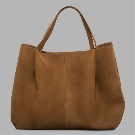 H Tote Bag or travel big bag tote handmade from nubuck leather