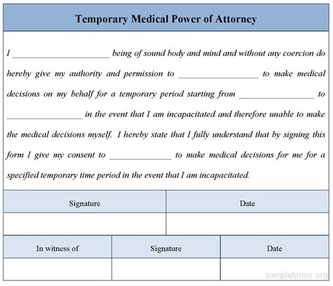 Temporary Power Of Attorney Template by Form New Form For Power Of Attorney Ohio