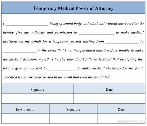 temporary power of attorney template temporary power of attorney form sle forms