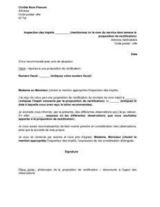 Exemple De Lettre Pour L Administration Fiscale Lettre De Contestation D Une Proposition De Rectification