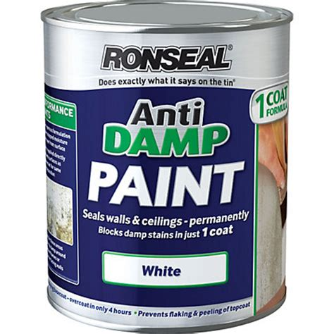One Coat Ceiling Paint by Ronseal White One Coat Anti D Paint 750ml