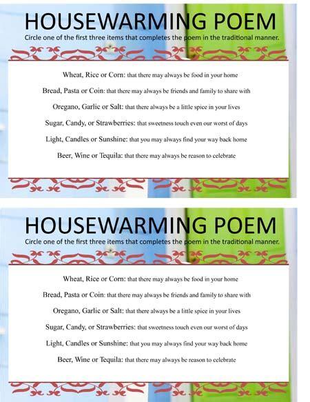Fun Outdoor Baby Shower Games - housewarming poem game sheet